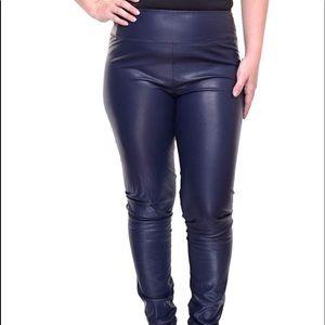 Lauren 22W Black Faux Leather Leggings, NWOT